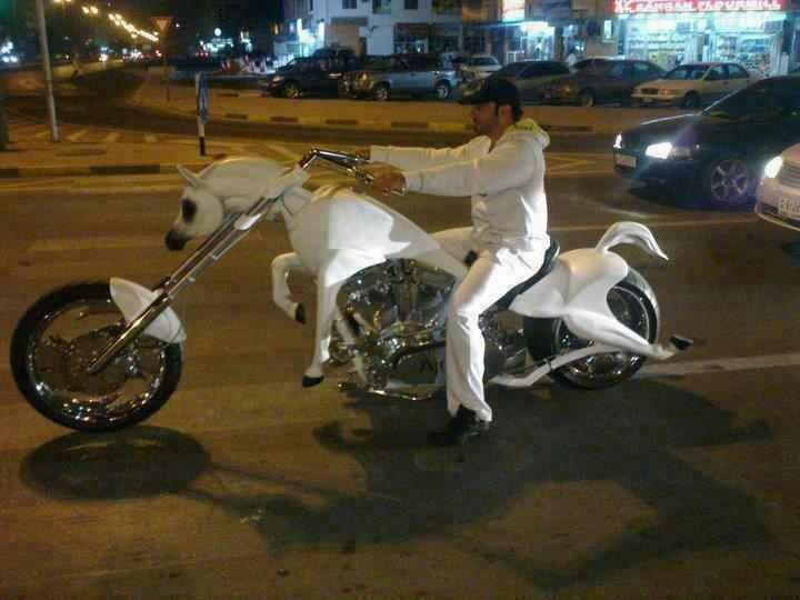 Ride The White Pony. The White Horse Chopper Gets Some Serious Attention  Out On The Roads.