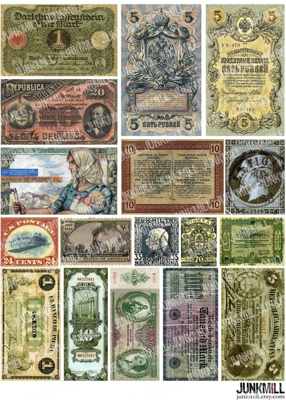 CURRENCY - Digital Printable Collage Sheet - Old Money ...