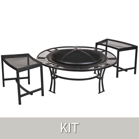 I like the simple design and matching benches.http://www.avantgardendecor.com/store/fire-pits/fb6400-750  CobraCo® Steel Mesh Rim Fire Pit and Bench Set