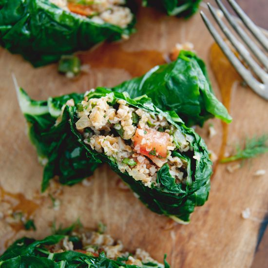 Check out Lemony Bulgur-Stuffed Swiss Chard Leaves. It's so easy to ...