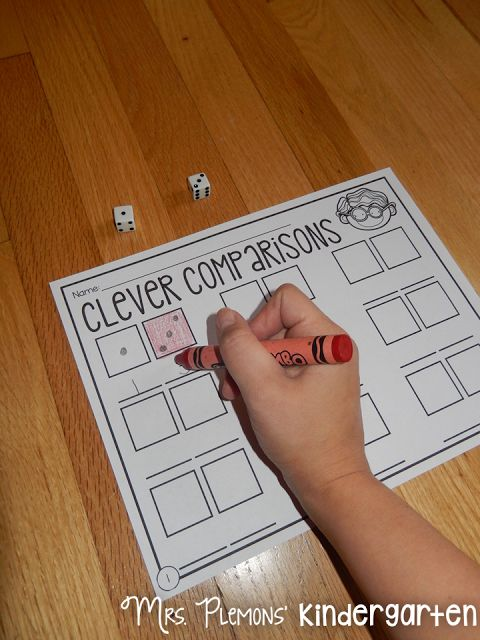 """Build Kindergarten Number Sense with these 20 differentiated centers! In """"Clever Comparisons,"""" students learn to compare numbers to determine which is more or less."""