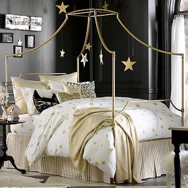 "Love the gold and the stars for Kristina.  Add soft pink and other ""princess"" elements:  The Emily + Meritt Scattered Star Duvet Cover + Sham #pbteen"