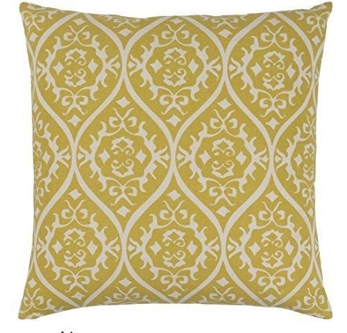 18x18 Yellow White Floral Throw Pillow Shabby Chic French Country Damask Paisley Motif Theme Pillows Jacquard Geometric Flower Pattern Modern Throws