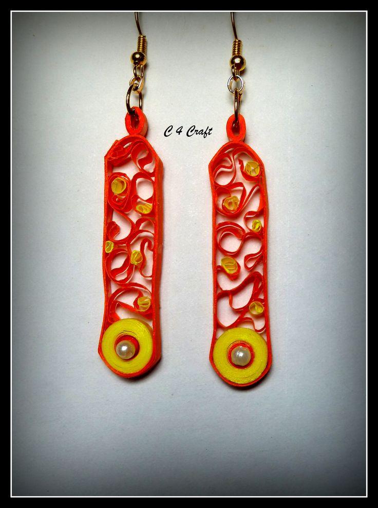 handmade paper earring (orange & yellow)