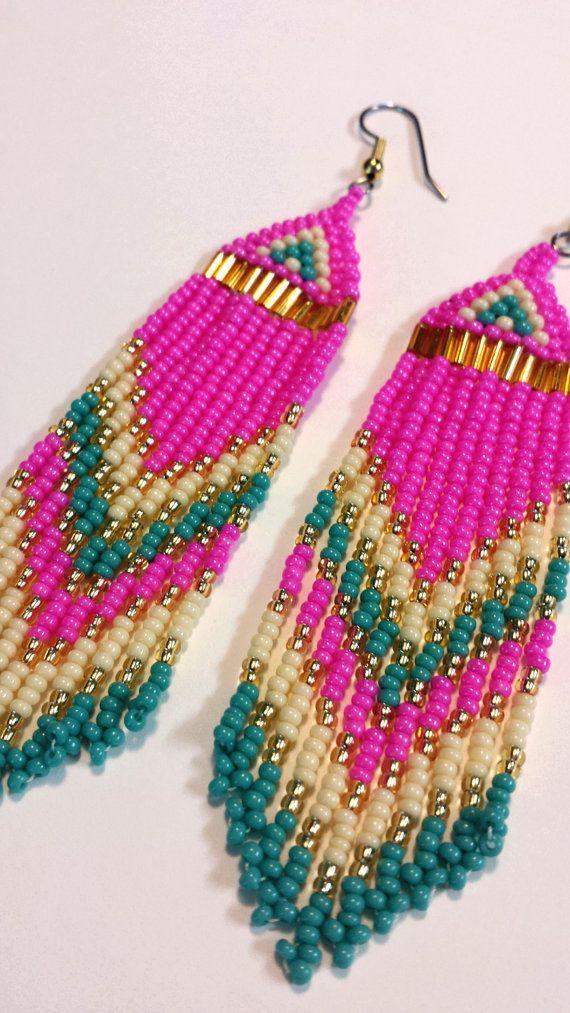 Bright pink Native Beaded Earrings. Long Earrings by creechowan, $35.00