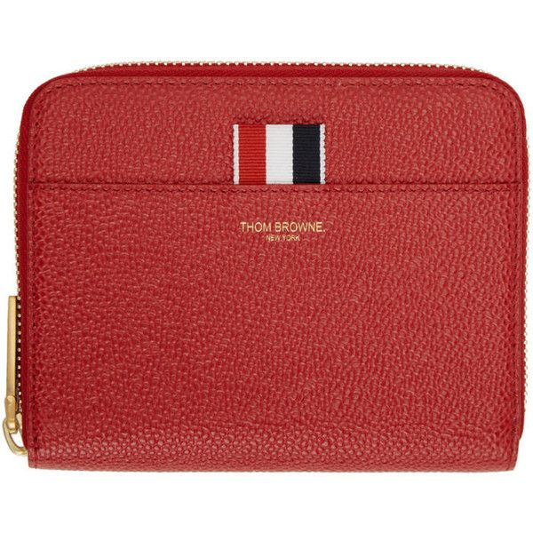 Thom Browne Red Short Zip Purse Wallet (9 070 ZAR) ❤ liked on Polyvore featuring bags, wallets, red, thom browne wallet, zip wallet, striped bag, thom browne and accordion wallet