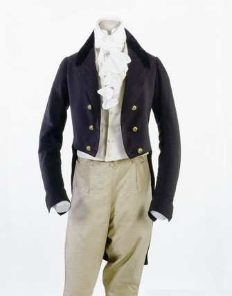 1801- 30 Blue tailcoat with velvet collar and brass buttons.  Museum of London