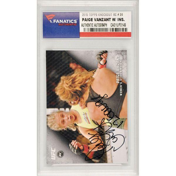 Paige VanZant UFC Fanatics Authentic Autographed 2015 Topps UFC Knockout Rookie #24 Card with 12 Gauge Inscription - - $59.99