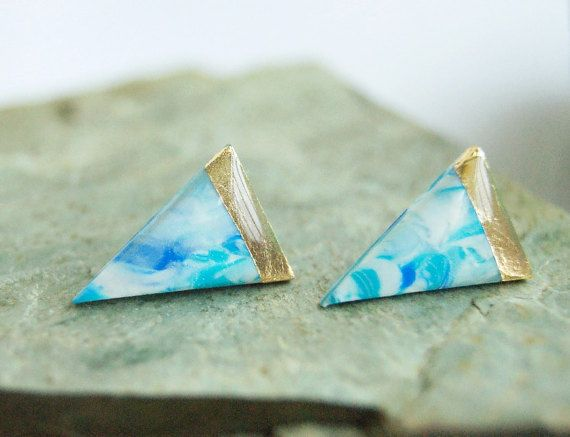 Black gold leaf triangle studs earrings  Black by InviolaJewerly