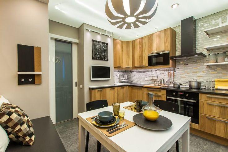 Konyhaberendezés ötlet - elegáns, kényelmes konyha 10m2-en meleg, természetes, napfényes hangulattal