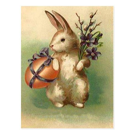 Vintage Easter Bunny Easter Egg Flowers Easter Postcard - tap, personalize, buy right now!