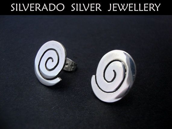 Ancient Greek Spiral Key Modern Style Studs by SilveradoJewellery, €18.00
