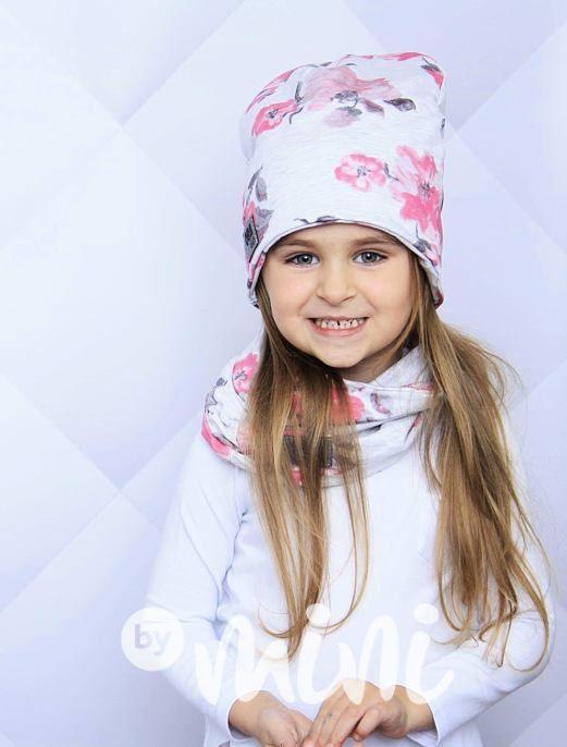 Flower čepka s nákrčníkem grey - By Mini - moderní oblečení pro děti