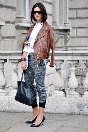 革ジャンとあわせてハイセンス!秋のレディース スウェット ファッション着こなしの参考一覧です♡