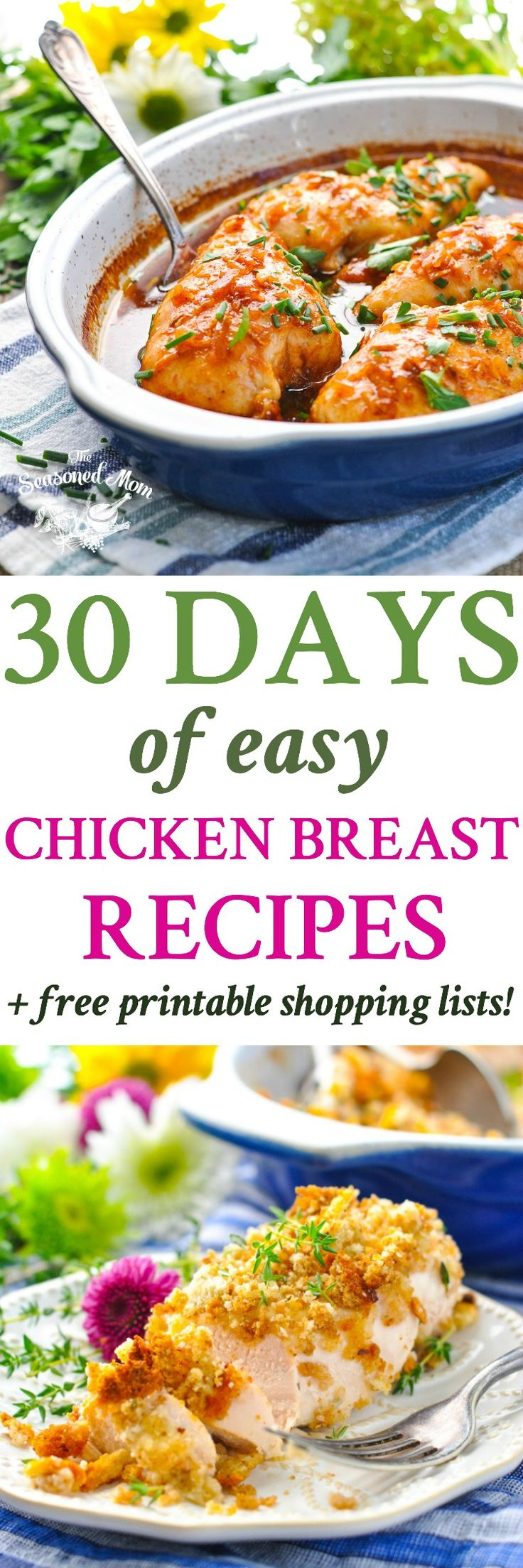 The meal planning is done for you with these 30 Days of Easy Chicken Breast Recipes and printable weekly shopping lists! Chicken Recipes | Easy Dinner Recipes | Dinner Ideas #chicken #dinner #chickenbreast