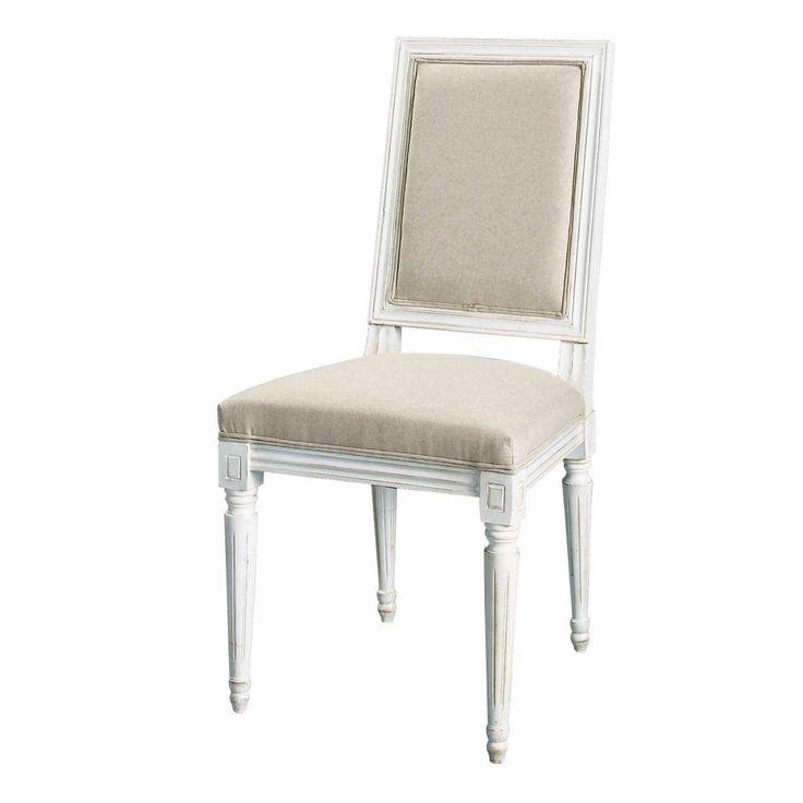 Sedia beige-grigio chiaro in cotone e legno Régence