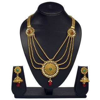 VK Jewels Four Strings Gold Plated Necklace with Earrings- NKS1159G