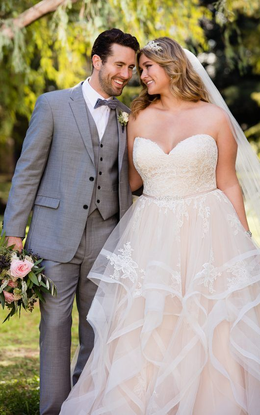 6432 pink floral lace plus size wedding dress with textured skirt by stella york
