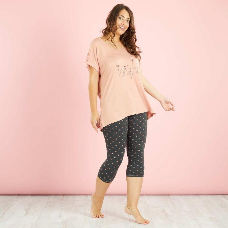 Pyjama imprimé legging mi-long Grande taille femme - Kiabi - 16,00€