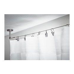 IKEA - DIGNITET, Cabo de aço, Conjunto completo com ferragens e cabo de aço; pronto para montar na parede ou no teto.Ferragens com ângulo regulável para maior flexibilidade.Pode ser facilmente cortado ao comprimento desejado.