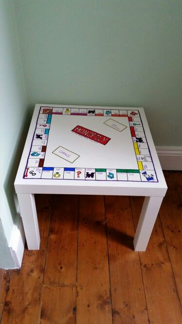 Ikea coffee table monopoly design. Simply used sharpie pens to create a unique piece of up cycled furniture