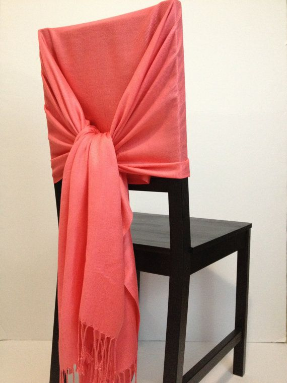 BrightCoral pashmina  pashmina scarf pashmina by WeddingShawls, $11.00 : great idea for cheap chair covers