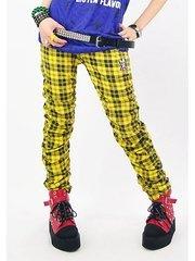 Skull CHECK OR LEOPARD Shirring Pants Yellow (Plaid)