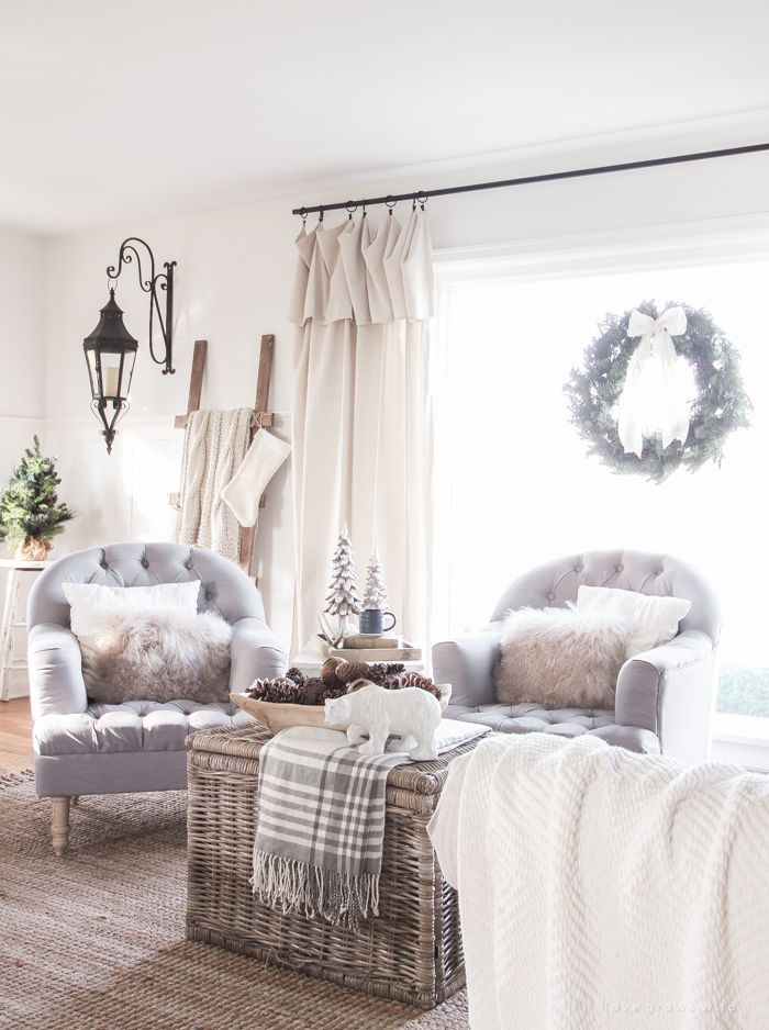 A Beautiful Farmhouse Living Room Decorated For The Holidays
