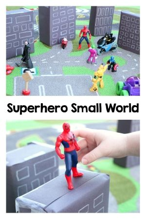 My son loves small world play so I made this neat superhero small world for him. He had a great time playing with it. It was perfect for pretend play!