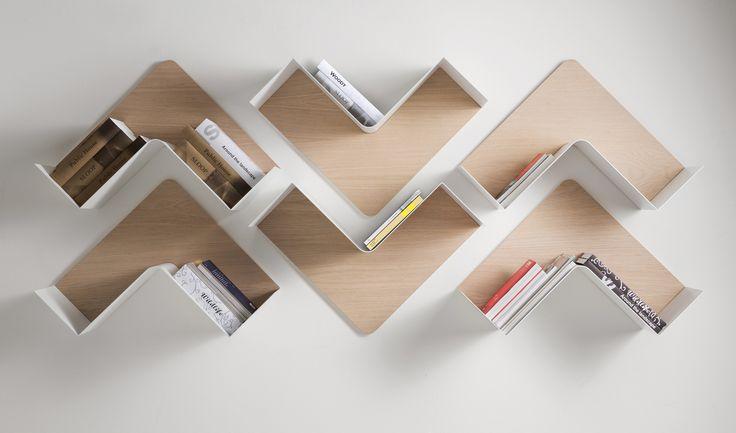 Wooden wall shelf FISHBONE by B-LINE design Favaretto