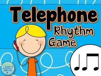 Telephone Rhythm Game ta and titi - a game to practice rhythm reading and memory in the music room for any time of year. #musiceducation #musedchat #rhythm #elemused