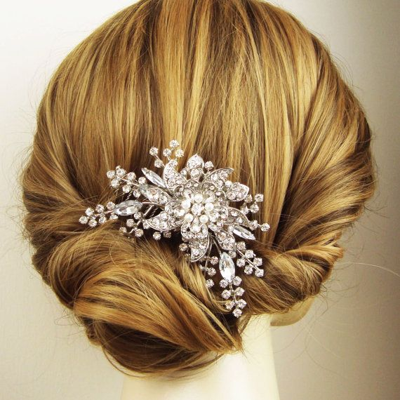 Victorian Style Bridal Hair Comb Rhinestone and by luxedeluxe, $92.00