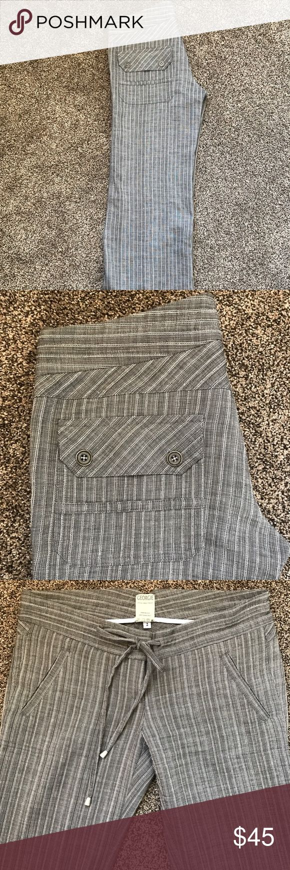 """Georgie Anthropology linen pin- striped pant SO comfy & cute. I'm 5'10 and typically need """"tall"""" pants, but these were plenty long enough! Worn once, excellent condition. Anthropologie Pants Wide Leg"""