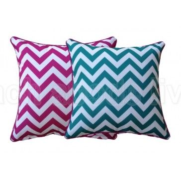 #PINK BRIGHT #AQUA Cushion Cover #Outdoor CHEVRON Zig Zag. All #reversible…