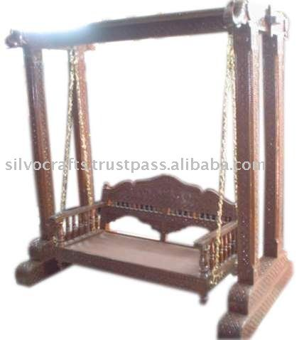 Royal Indian Rajasthani Jodhpur Hand Carved Wooden Swing Jhoola (Indian Antique  Reproduction Furniture)