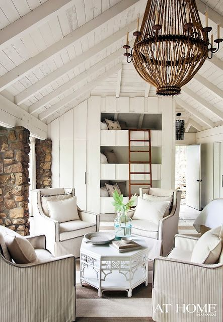 A Lake House in White: Interior, Living Rooms, Beach House, Idea, Bunk Beds, Livingroom, Bunk Room