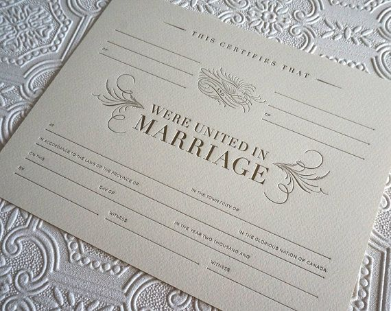 Letterpress Marriage Certificate, Blank Marriage Certificate, Gold and Ivory Wedding, Wedding Keepsake, 8 x 10