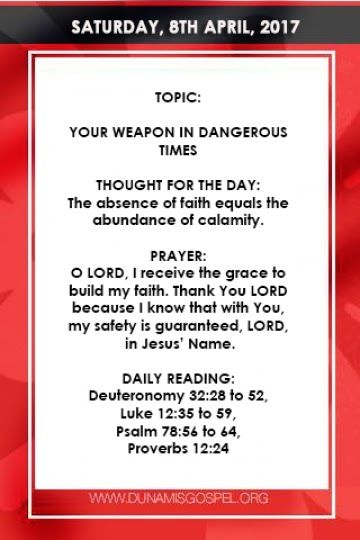 SCRIPTURE: but the just shall live by his faith. Habakkuk 2:4    THOUGHT FOR THE DAY: The absence of faith equals the abundance of calamity.    A young man once told a very disheartening story of a man who was shot in the leg by armed robbers few weeks to his wifes expected delivery date (EDD). They rushed him to the hospital but the hospital was on strike.    They took him to another hospital but his situation could not be managed. That was how the man bled to death by ordinary gunshot…