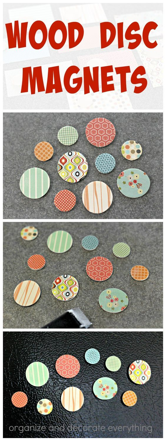 Use your paper scraps to make these cute and useful Wood Disc Magnets.: