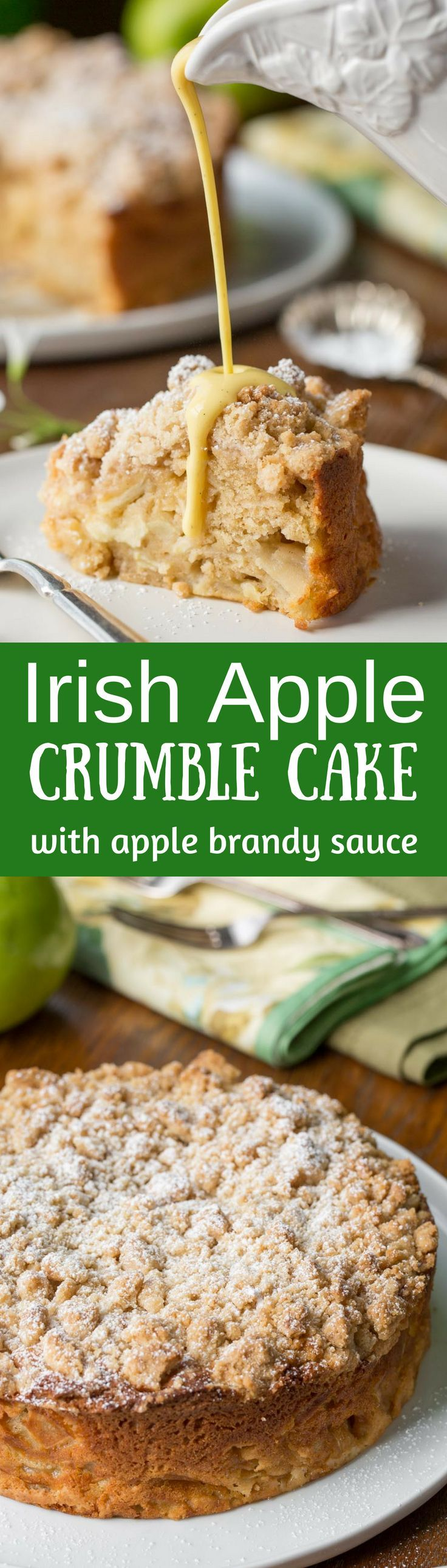 Irish Apple Crumble Cake with Apple Brandy Sauce ~ made with fresh apples, plenty of cinnamon, and a sweet crumble top, this rustic and moist cake is homey and delightful especially when drizzled with the Apple Brandy Sauce! www.savingdessert.com