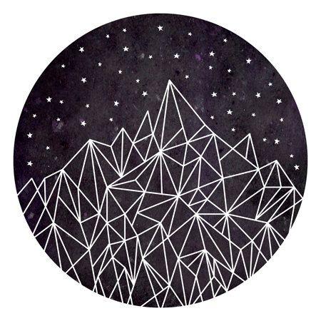 Geometric Pattern Poster: mountains + stars