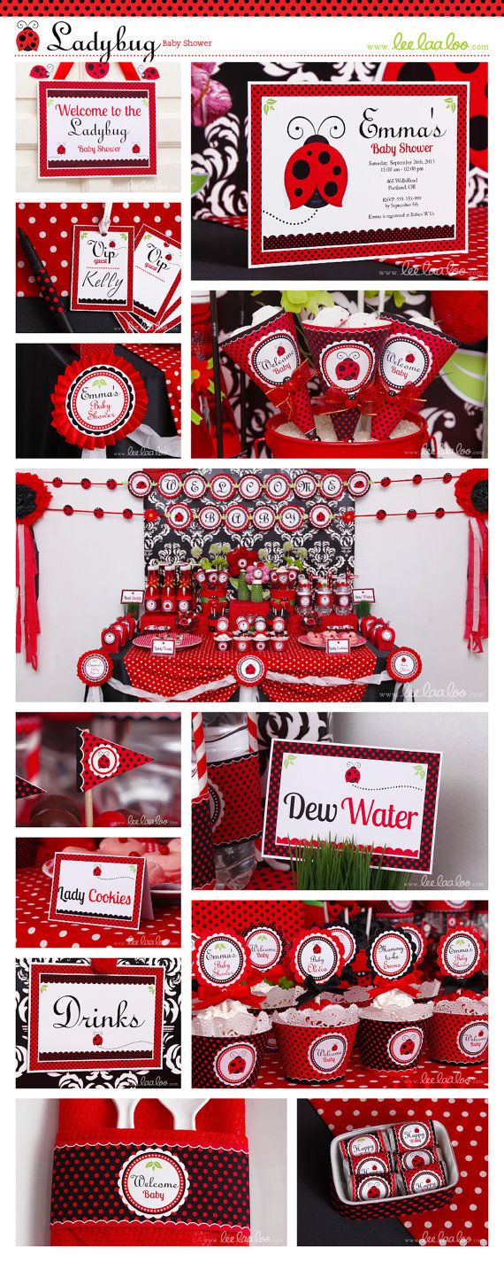 ladybug baby shower party theme shop them here https