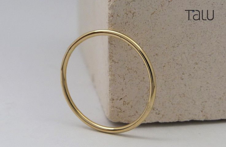 Simple Gold Ring, 14k Solid Gold, Stackable Ring, Thin Wedding Ring, Rounded Thin Band, Dainty Jewelry, Forever Gold Ring, Perfect Gift by TALUrockngold on Etsy