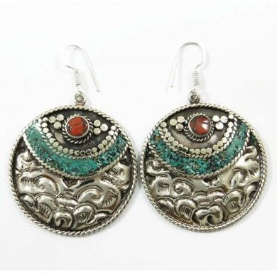 Turquoise Coral Mosaic Tiles Silvertone Women Fashion Earring Jewellry Gift