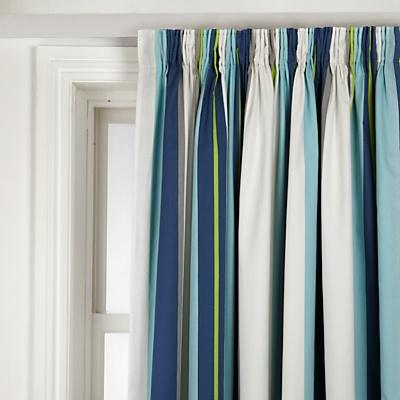 Buy John Lewis Blackout Lined Pencil Pleat Stripe Curtains, Pair, Robot Blue online at JohnLewis.com - John Lewis
