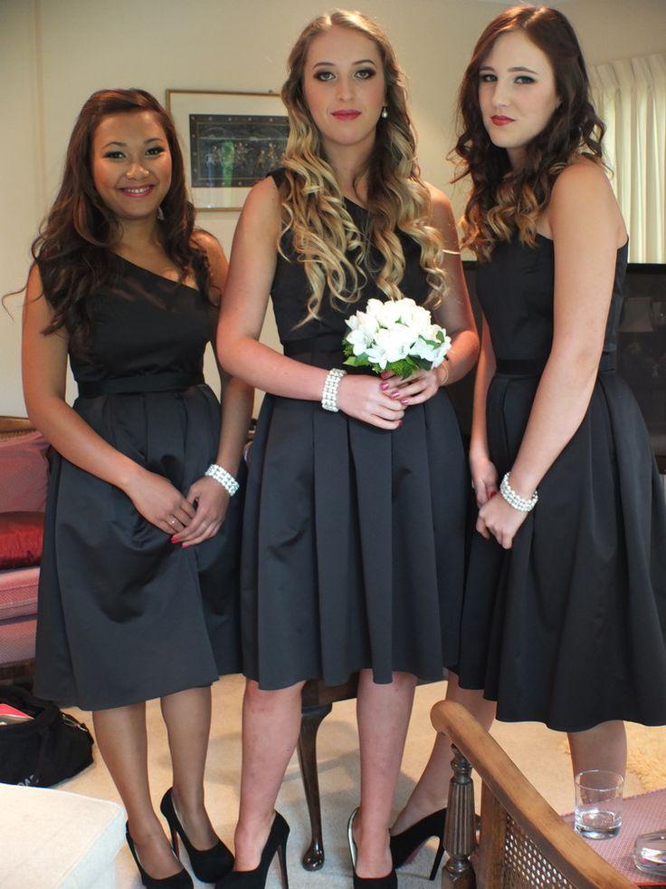 Three Bridesmaids in black by Jennie Field Dressmaker