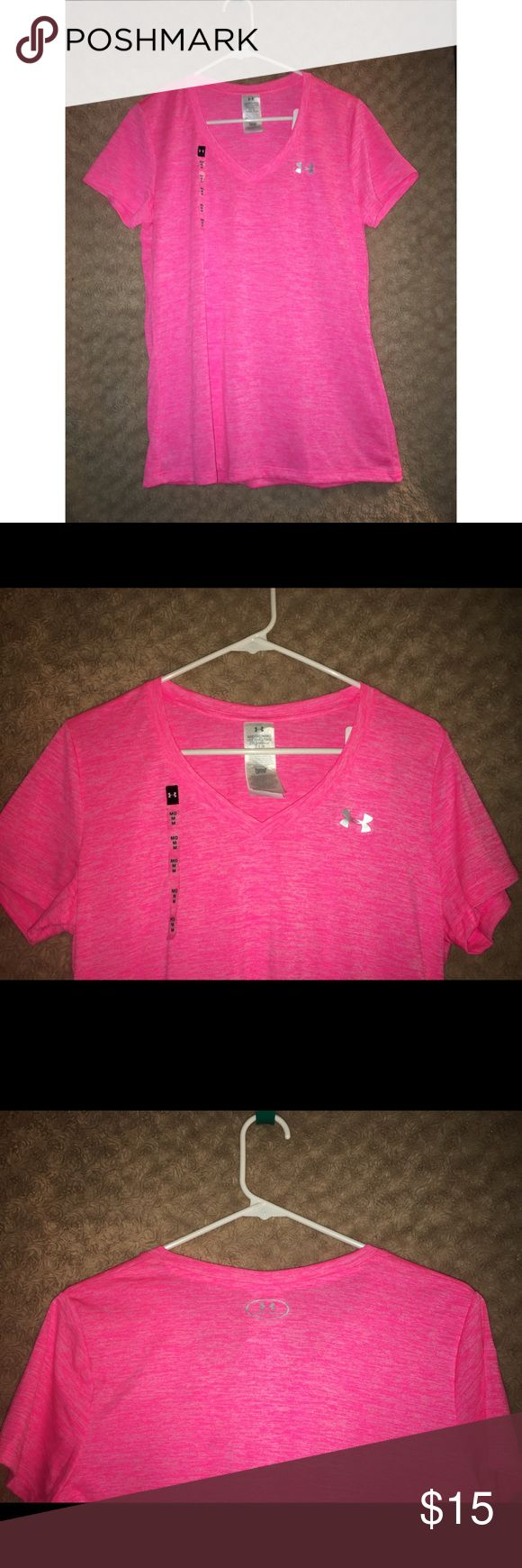 Under Armour V-Neck Under Armour Women's twisted-tech v-neck shirt  • New with tags - never has been worn   Loose fit - super soft heathered fabric  Metallic silver chest logo  • Size: Medium (US 8-10) (as shown in pictures)  • Color: Hot pink  • Fabric content: polyester Under Armour Tops Tees - Short Sleeve