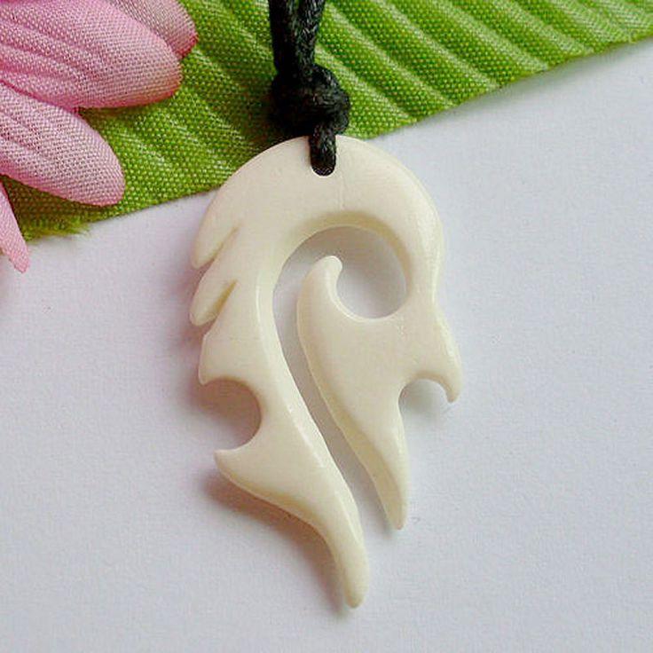 Hot sale New Zealand Maori Handmade Carved Ox Bone TOTEM Pendant Necklace Hawaiian Surfer Choker Unisex Gift FREE SHIPPING