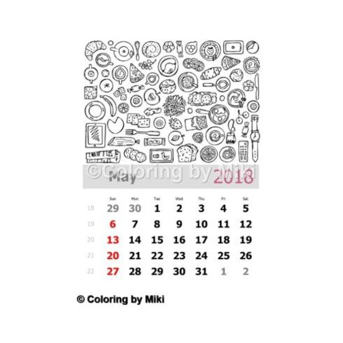 Breakfast May 2018 Calendar Coloring Page 332 #coloring