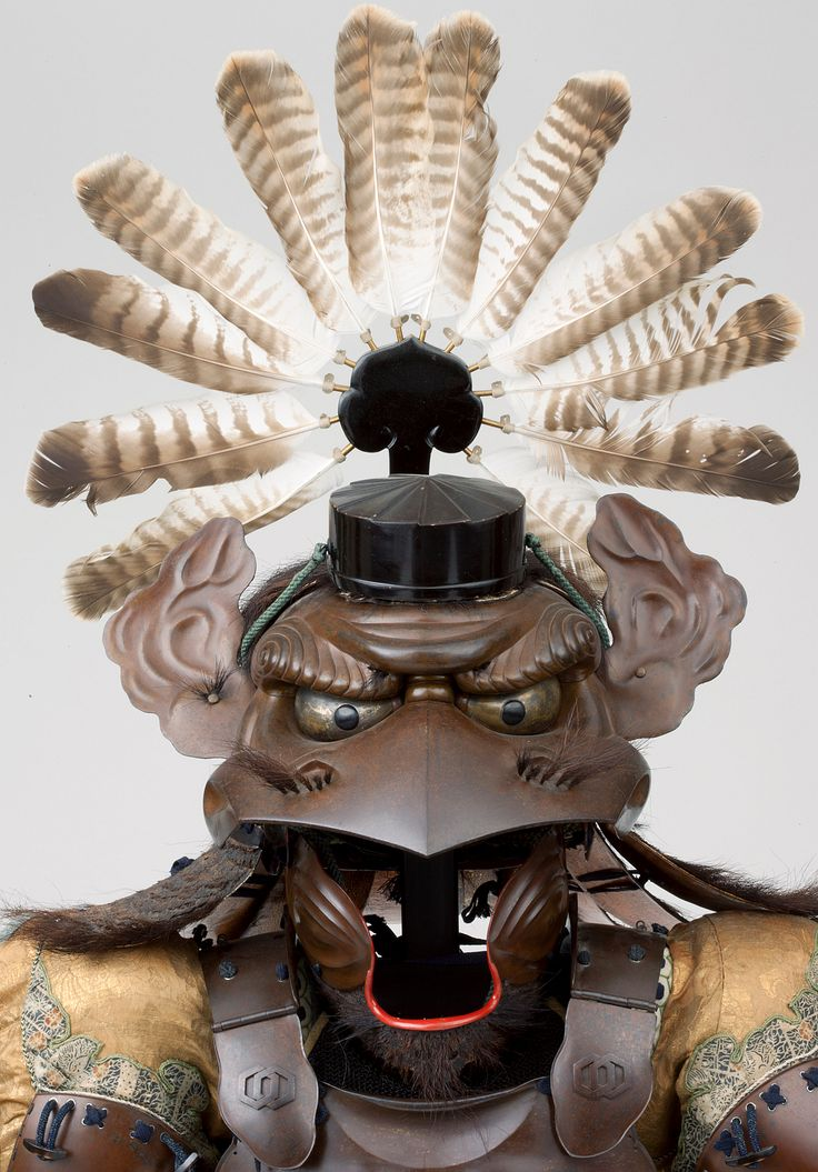 Armor with the features of a tengu (tengu tōsei gusoku), by Kiyotoshi, Munekiyo, and Ryūsuiken, late Edo period, 1854. The astonishing helmet of this armor represents the head of the menacing creature tengu (karasu tengu) with its characteristic beak, golden eyes, and striking eyebrows. The chest armor and sleeves imitate human muscle structure. Atop the helmet is a small black hat resembling ones worn by mountain warrior-monks (yamabushi), practitioners of Shūgendō.